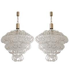 """Pair of Vintage """"Giogali"""" Glass Chandelier by Mangiarotti"""