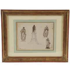 Albert-Ernest Carrier-Belleuse, Neoclassical Drawing, France, circa 1860
