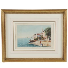 Grand Tour Watercolor of an Italian Coastal Scene, circa 1880