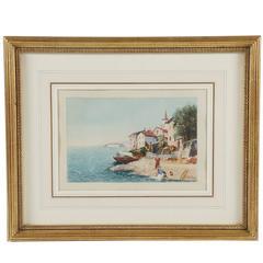 Grand Tour Watercolor of an Italian Coastal Scene, circa 1880