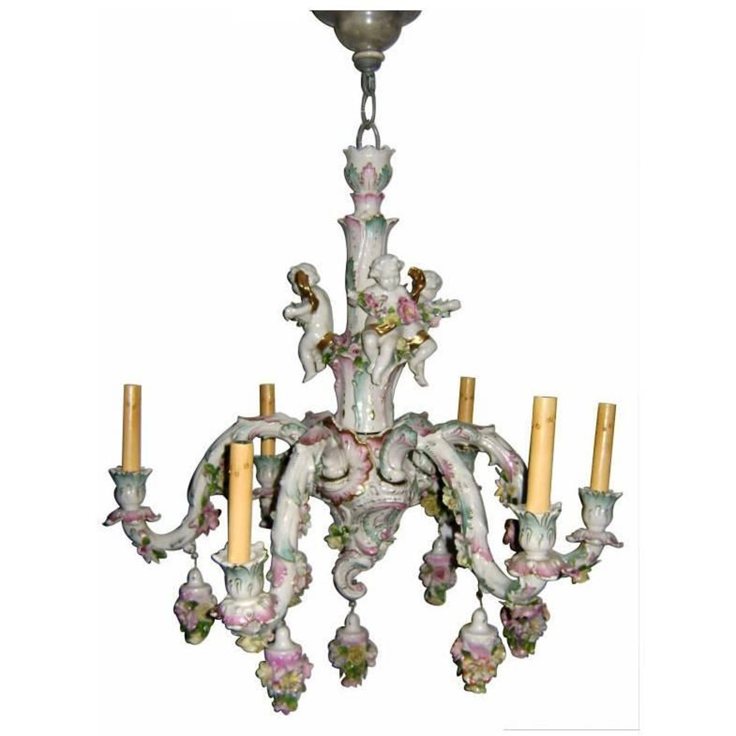 Two tier meissen porcelain chandelier with birds and flower meissen porcelain chandelier arubaitofo Gallery