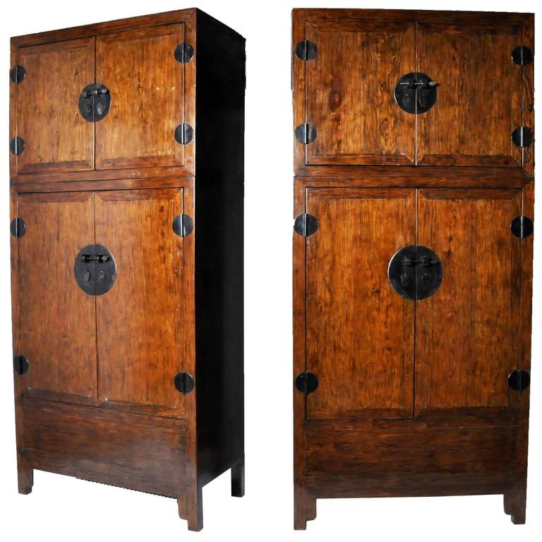 Pair of Chinese Compound Wardrobes