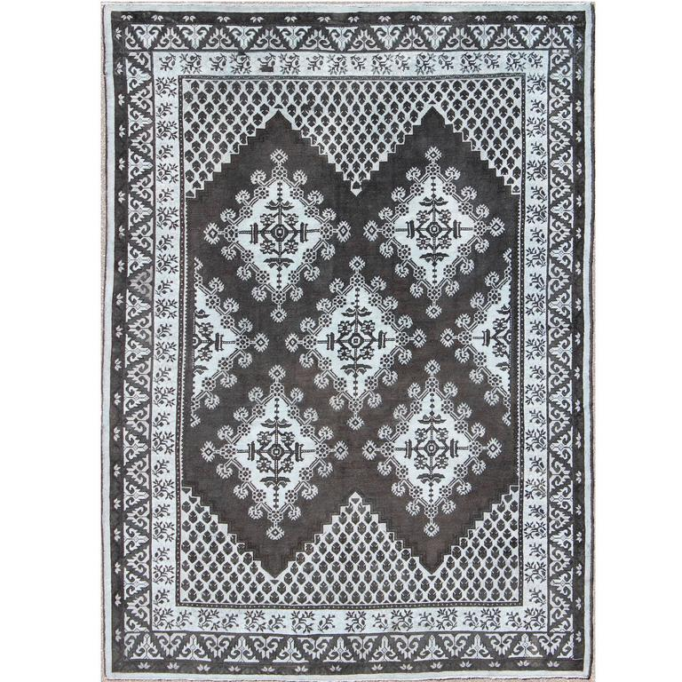 Geometric Design Vintage Tribal Moroccan Rug with Black and Gray