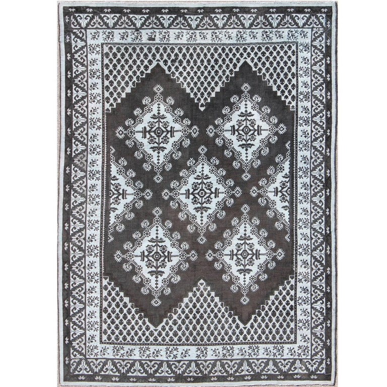 Geometric Design Vintage Tribal Moroccan Rug With Black