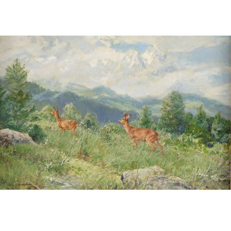 """""""Mountain Side with Deer,""""  Oil on Canvas by Wilhelm Buddenburg For Sale"""