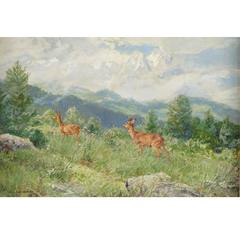 """Mountain Side with Deer,""  Oil on Canvas by Wilhelm Buddenburg"