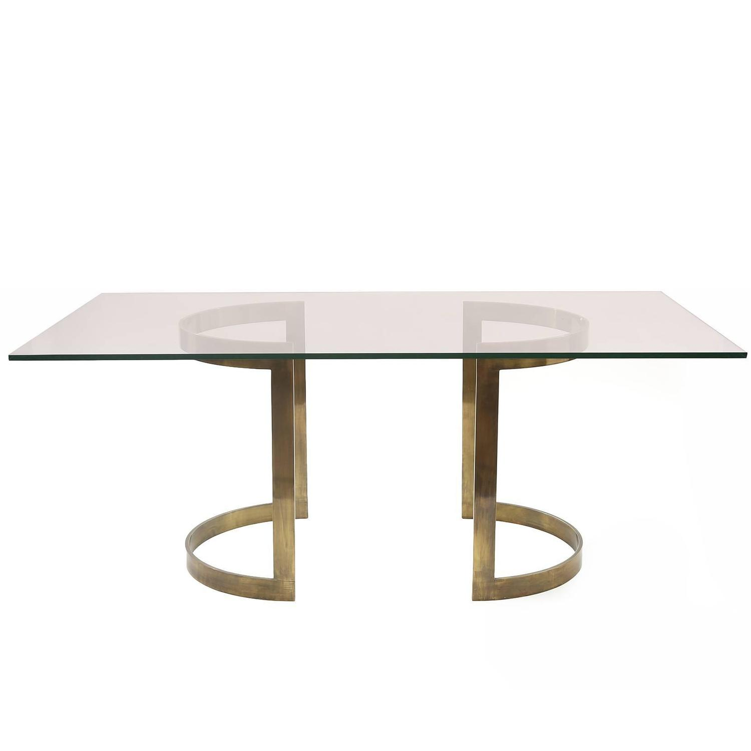 Milo baughman bronze and glass dining table at stdibs
