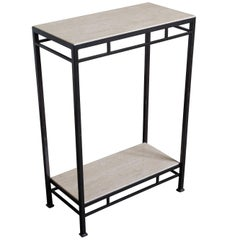 Marcelo Console Table with Travertine Shelves