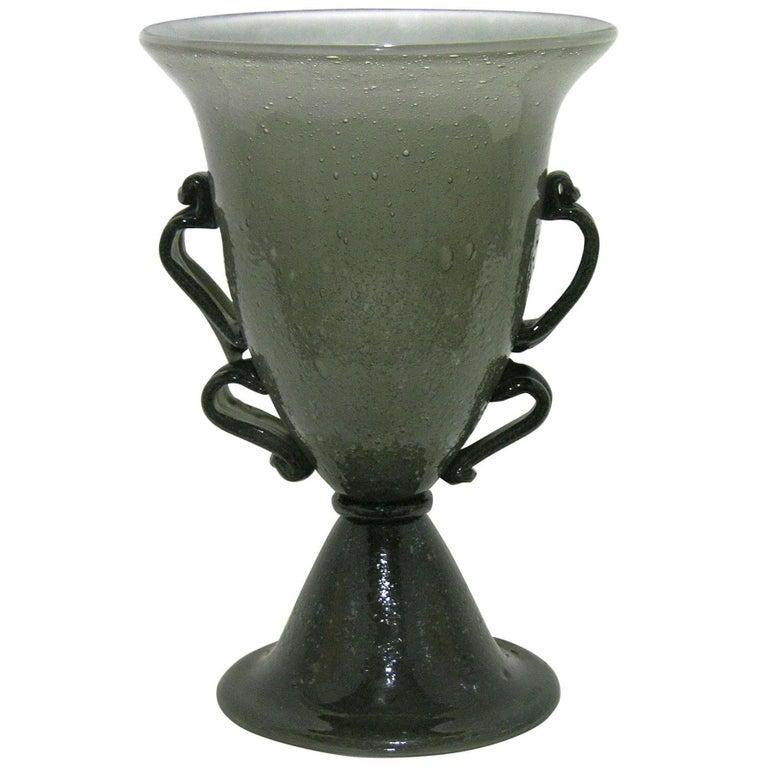 1940s Rare Black and Smoked Gray Murano Glass Lamp