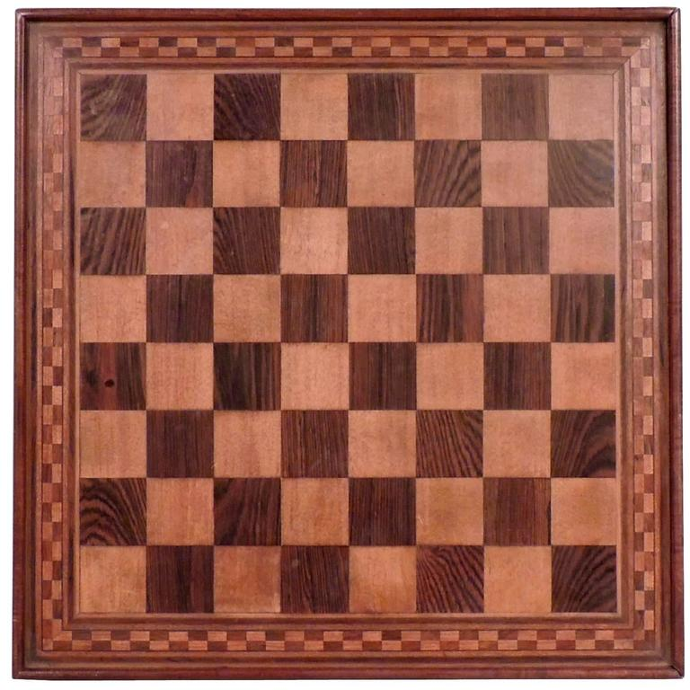Marquetry Inlaid Wooden Game Board for Chess, Checkers, and Parcheesi