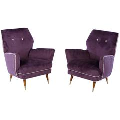 Pair of Italian Mid Century Modern Club Chairs, circa 1960