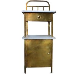 Brass and Marble Side Table with Drawer and Cabinet