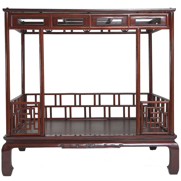 Antique Chinese L18th-Ey 19th Century Six Post Canopy Bed, Chinoiserie, Zhejiang