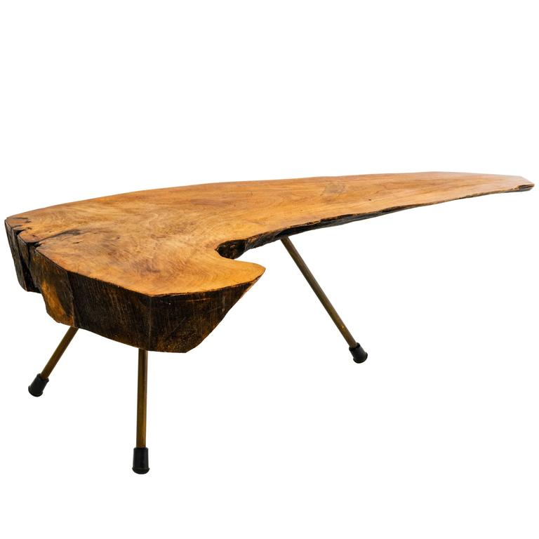 1950s Live Edge Tree Trunk Table By Carl Aubock At 1stdibs