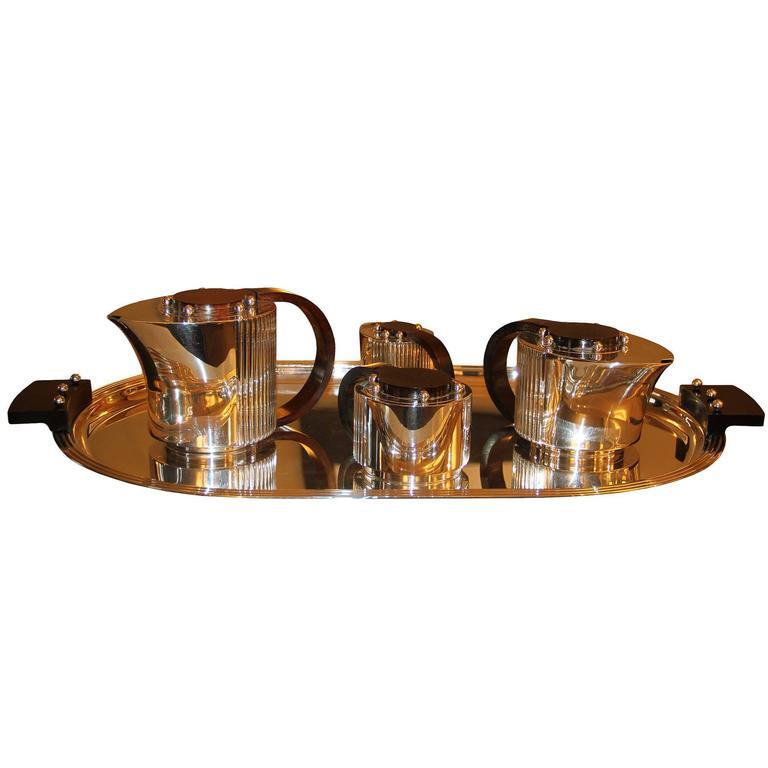 "Puiforcat Elegant Silver-plate Art Deco Tea & Coffee Service ""Etchea"" 1"