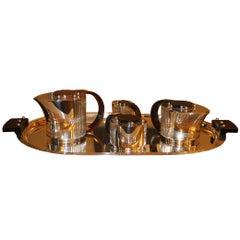 "Puiforcat Elegant Silver-plate Art Deco Tea & Coffee Service ""Etchea"""