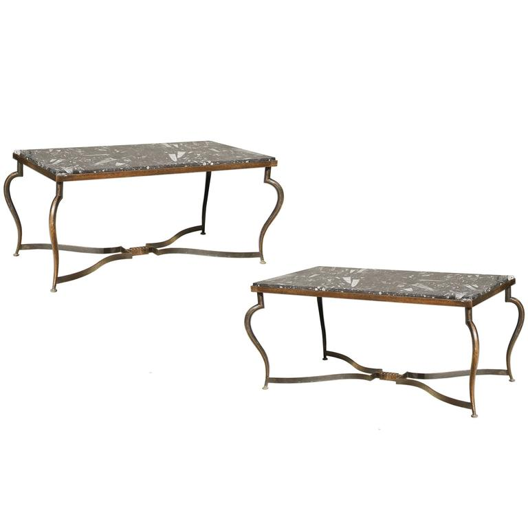 Michel Zadounaisky, Rare Pair of 1930 Art Deco Coffee Tables For Sale