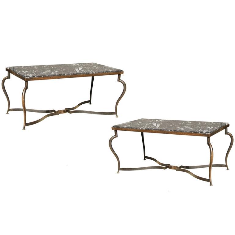 Michel Zadounaisky, Rare Pair of 1930 Art Deco Coffee Tables 1