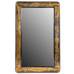 Rare Form Large Etched-Brass Mirror by Bernhard Rohne