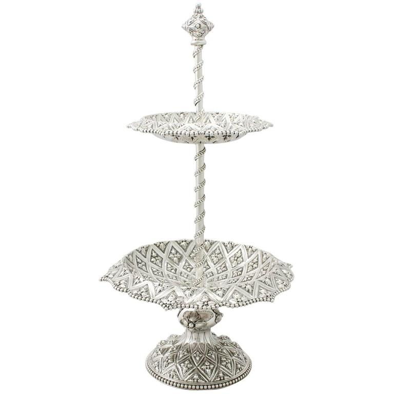 Sterling Silver Cake Stand Or Centerpiece By Robert Hennell Iii Victorian For