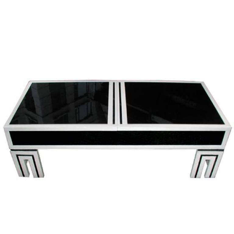 James mont black glass coffee table for sale at 1stdibs for Black and white glass coffee table