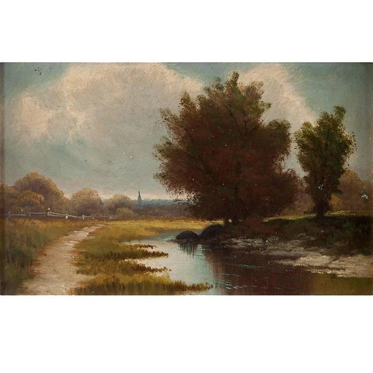 """River Landscape,"" Town in Background, Pathway Along River, Oil on Small Panel"