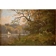 """Riverscape with Sailboat and Forest"", Oil on Panel, Small Painting 19th century"
