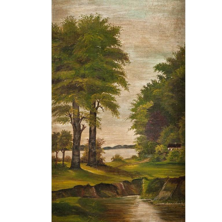 """""""Riverscape with Trees"""", Oil on Canvas For Sale"""