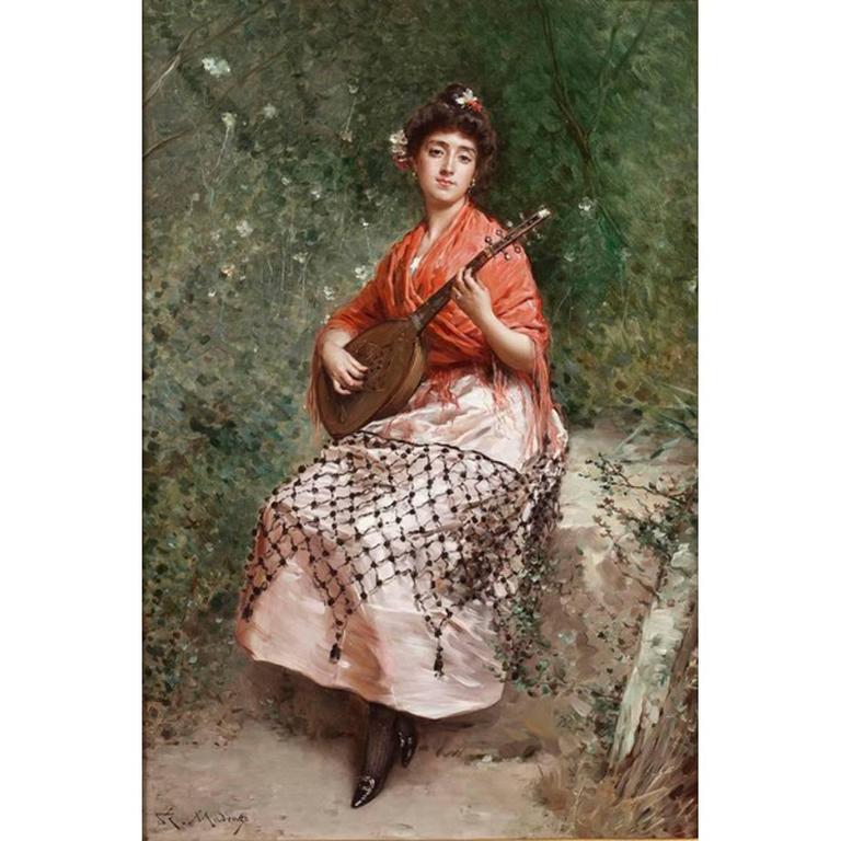 'The Beautiful Bandurria Player' Oil on Canvas by Raimundo de Madrazo y Garreta