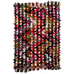 Anatolian Striped Kilim Rug with Colorful Poms