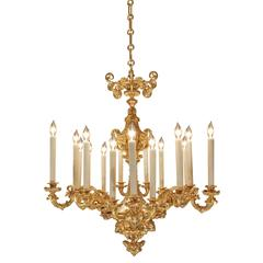 French 19th Century Renaissance Style Ormolu Eighteen-Light Chandelier