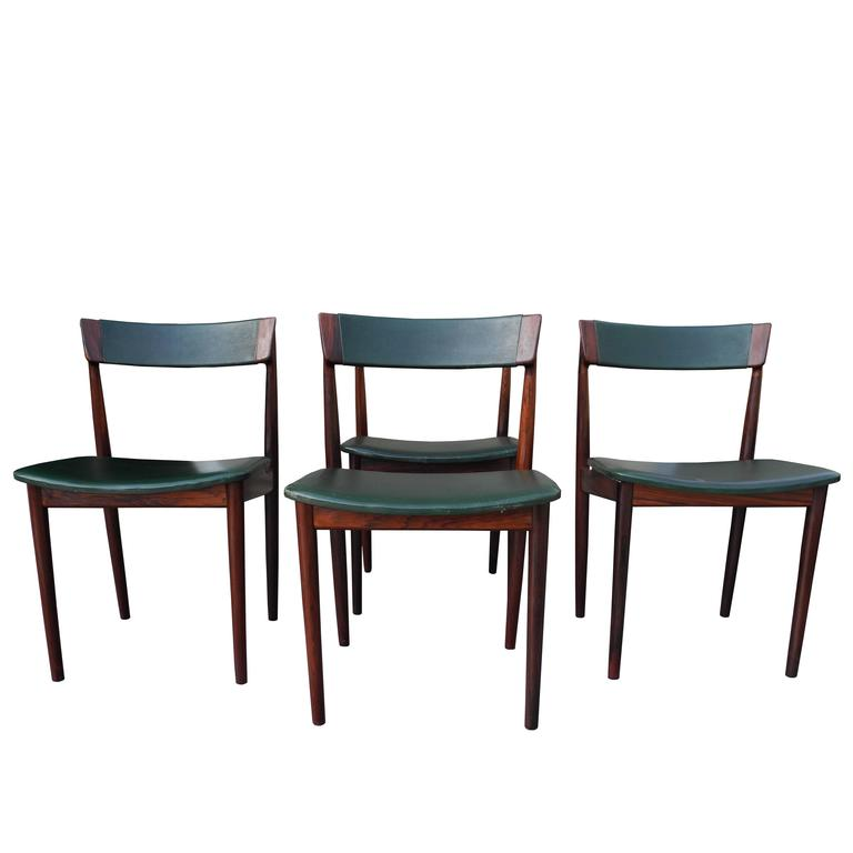 Danish Modern Solid Rosewood and Green Leather Chairs by Rosengren Hansen For Sale