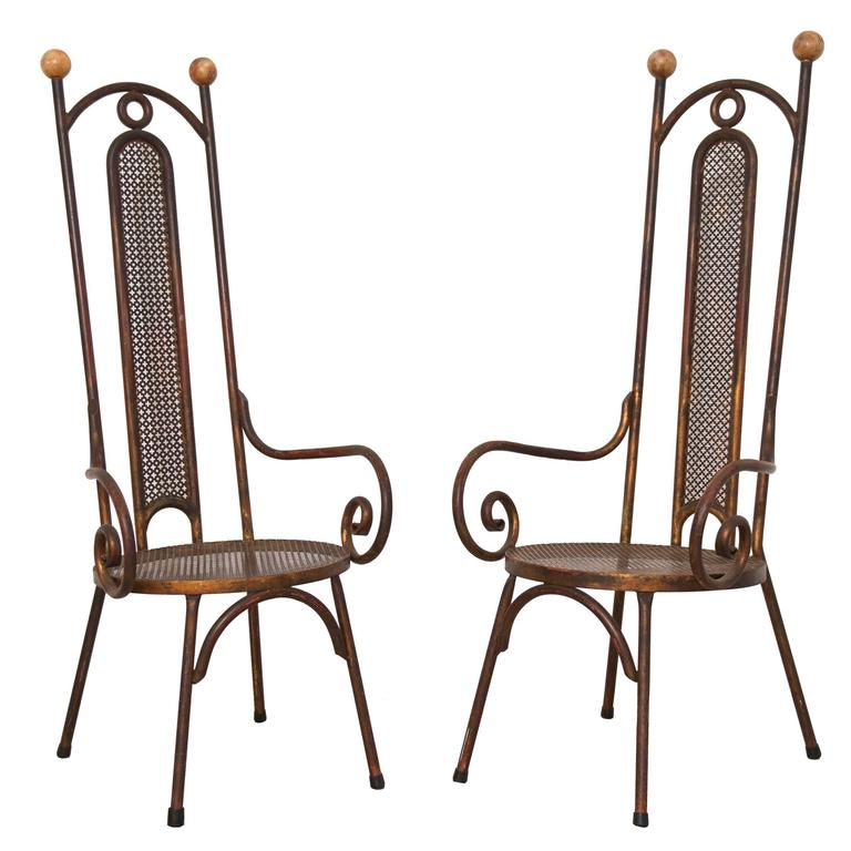 Tall 1950s Italian Metal and Alabaster Chairs