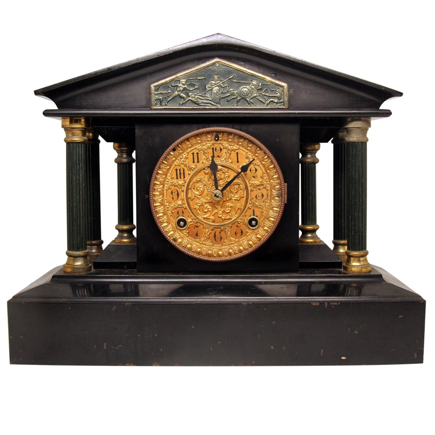 ansonia marble mantel clock with brass and greek egg and dart detailing for sale at 1stdibs - Mantel Clock