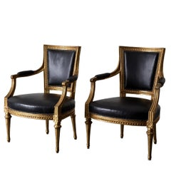 Armchairs Pair Swedish Gilt Wood Black Leather Gustavian Sweden