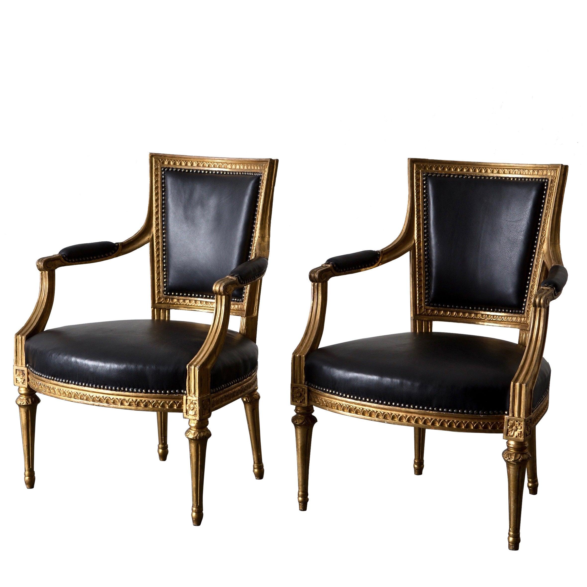 Armchairs Pair Swedish Gilt Wood Black Leather Gustavian Sweden