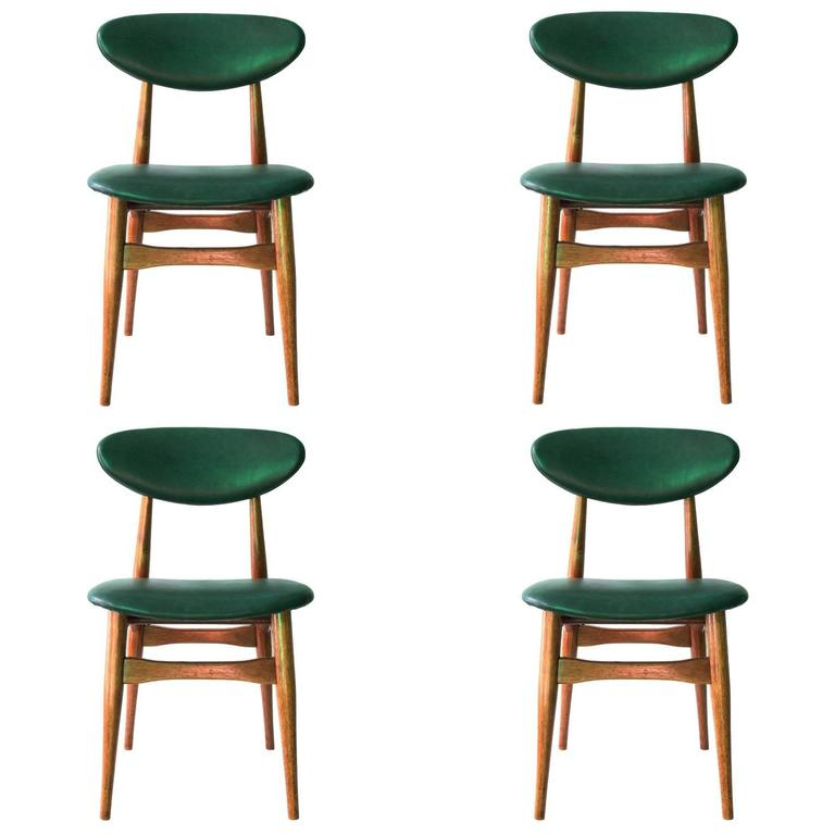 Set of Four Danish Teak Dining Chairs with Green Vinyl Backs and Seats