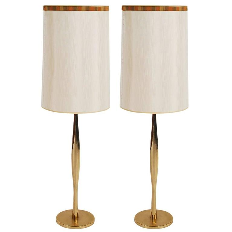 this pair of mid century modern tall sculptural brass table lamps is. Black Bedroom Furniture Sets. Home Design Ideas