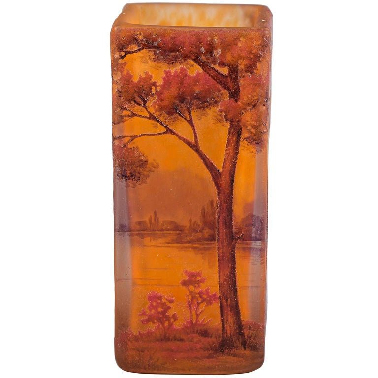 Daum Nancy Cameo Riverscape Vase, circa 1910