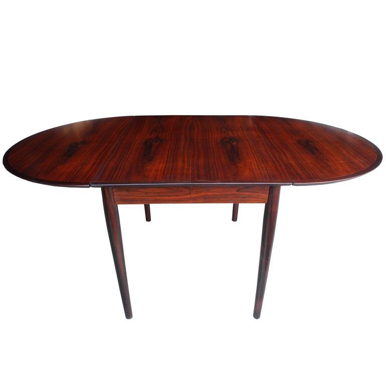 Danish Modern Drop Leaf Solid Rosewood Dining Table By Henry Rosengren Hansen For