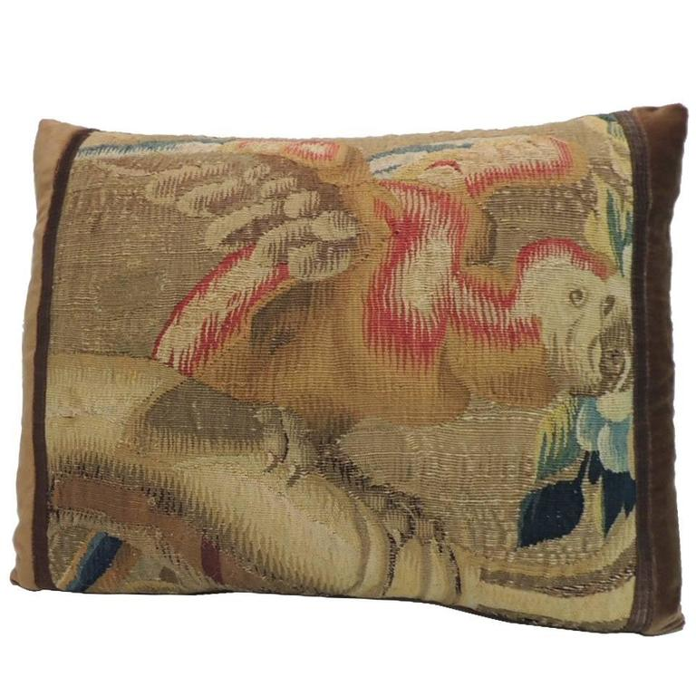 19th Century French Aubusson Tapestry Bird Decorative Lumbar Pillow