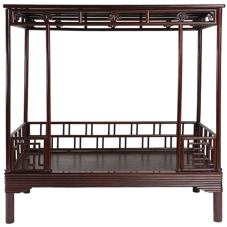 Antique 19th Century Chinese Ju Mu Six Post Canopy Bed, Chinoserie, Suzhou  For Sale