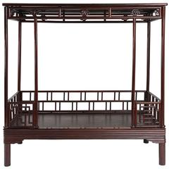 Antique 19th Century Chinese Ju Mu Six Post Canopy Bed, Chinoserie, Suzhou