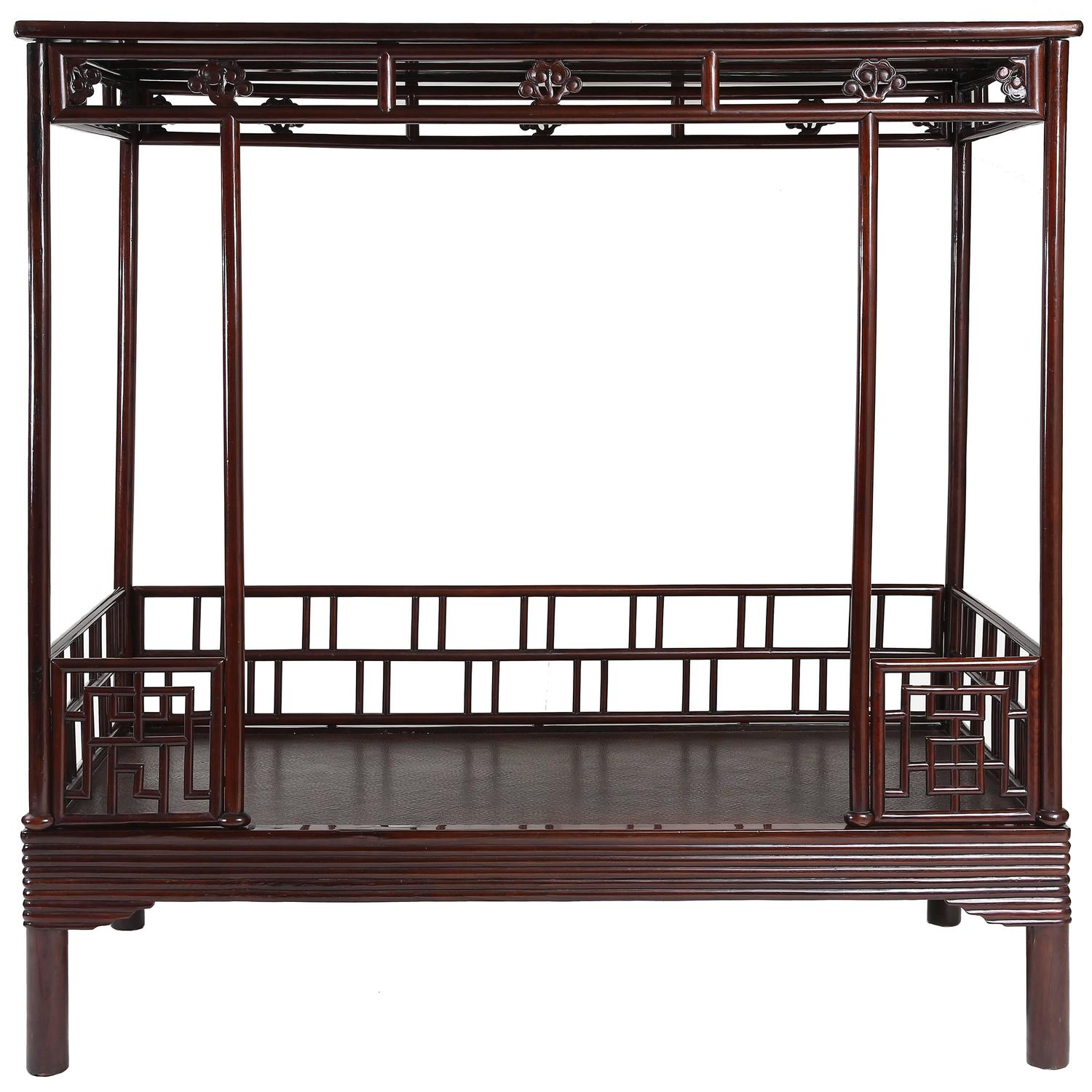 Antique 19th century chinese ju mu six post canopy bed Short canopy bed