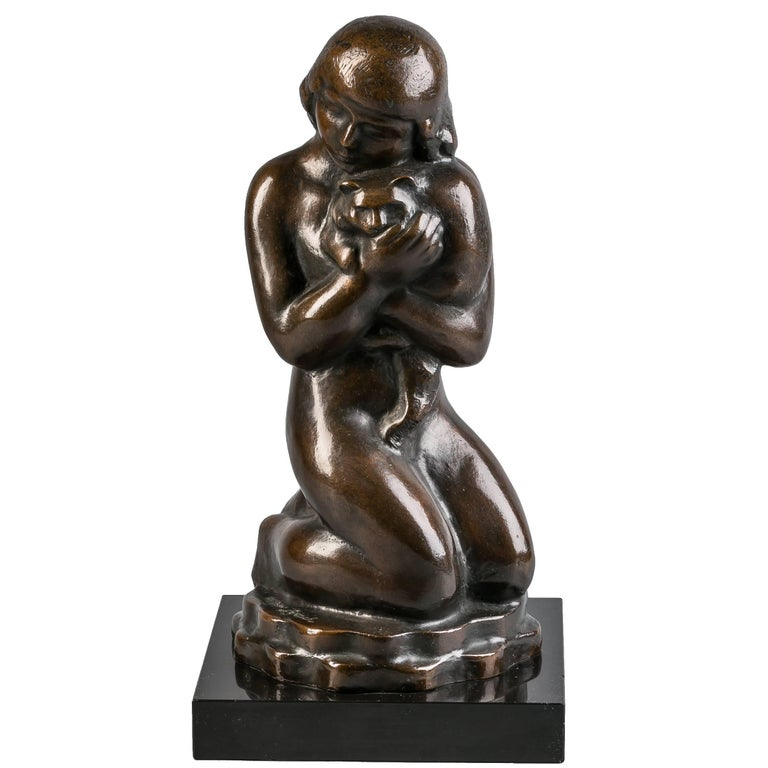 American Bronze Girl with Cats, William Zorach, circa 1920 For Sale