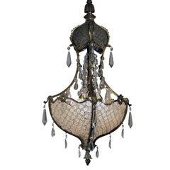 Louis XV1 Style Bronze and Crystal Chandelier