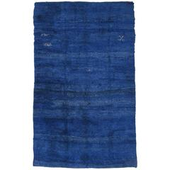 Large Blue Beni Mguild Moroccan Berber Carpet