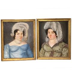 Charming Pair of Early 19th Century Portraits of Two Fashionable Sisters