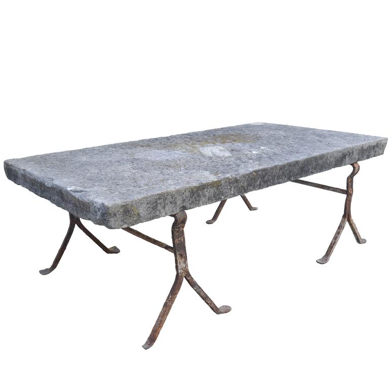 French Limestone Coffee Table On Iron Base At 1stdibs