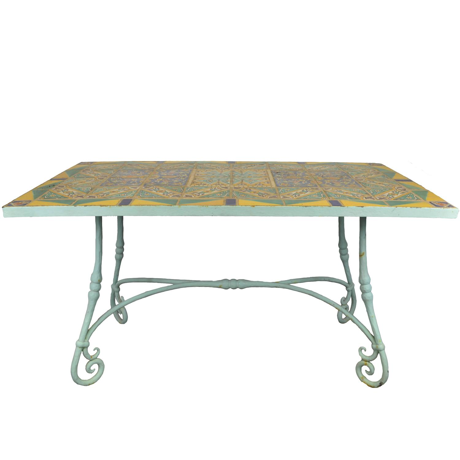 Rare Original D M Tile Table With Hand Wrought Iron Base For Sale At 1stdibs